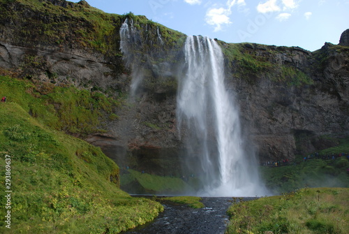 Seljalandsfoss waterfall in Iceland with river