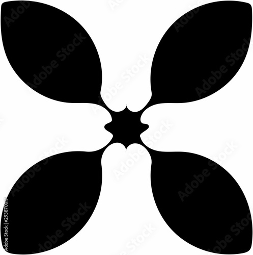 Canvas Print Ornate abstract black symbol on white background