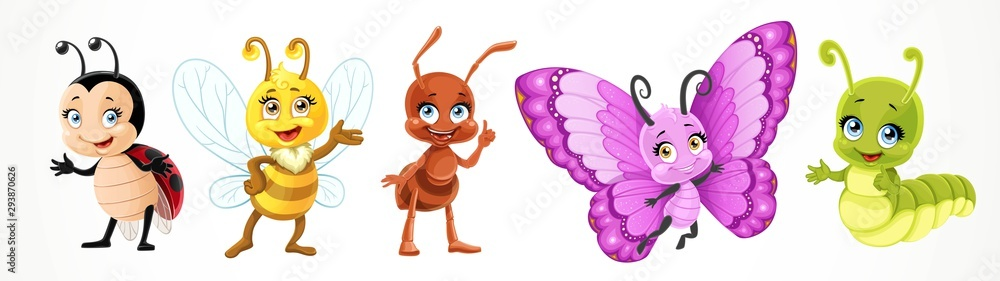 Fototapeta Cute cartoon ladybug bee, butterfly, caterpillar, ant isolated on a white background