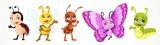 Fototapeta Fototapety na ścianę do pokoju dziecięcego - Cute cartoon ladybug bee, butterfly, caterpillar, ant isolated on a white background