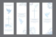 Doves And Flowers Religious White Bookmarks Set, Christian Templates Kit, Universal Design
