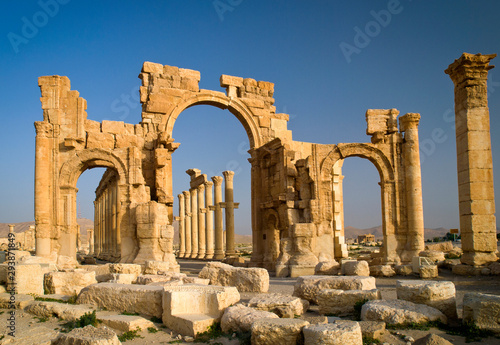 The monumental arch in the eastern section of the colonnade, Palmyra, Homs Gover Wallpaper Mural
