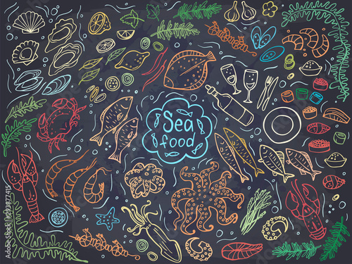 Set of colorful seafood on chalckboard Fototapet