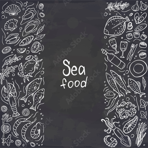 Fototapeta Set of seafood on chalckboard. Vector illustration. Perfect for menu or food package design. obraz