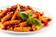 Penne With Meat, Tomato Sauce ...