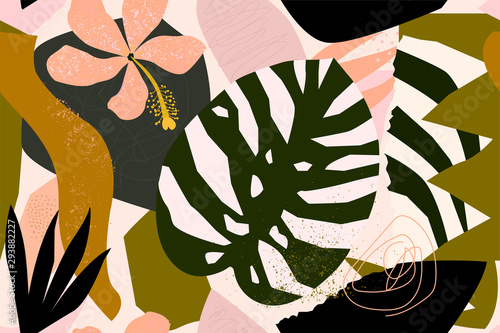Abstract modern tropical paradise collage with various of fruits, exotic plants and geometrical shapes seamless pattern. Contemporary floral illustration for fabric design. - 293882227