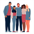 Youth people hugging together background.Vector