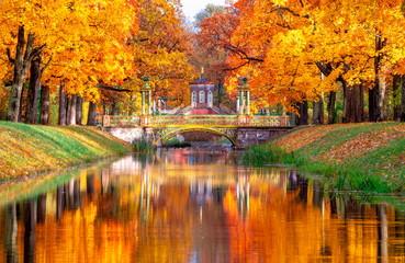 Cross bridge and Chinese bridges in Alexander park in autumn, Pushkin (Tsarskoe Selo), St. Petersburg, Russia
