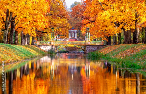 Spoed Fotobehang Landschap Cross bridge and Chinese bridges in Alexander park in autumn, Pushkin (Tsarskoe Selo), St. Petersburg, Russia