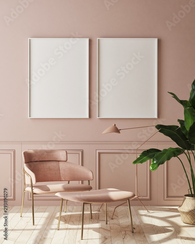 Obraz mock up poster frame in modern monochrome interior background, living room, Scandinavian style, 3D render, 3D illustration - fototapety do salonu