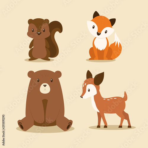 Flat autumn forest animals collection.Vector