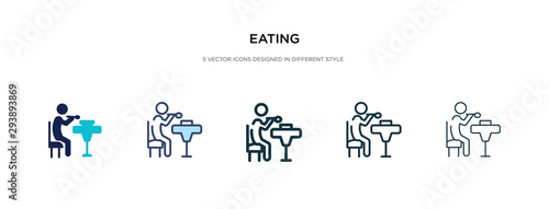 Photo eating icon in different style vector illustration
