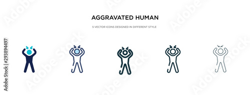 aggravated human icon in different style vector illustration Wallpaper Mural