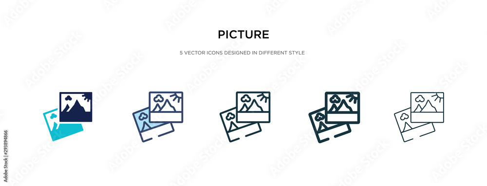 Fototapeta picture icon in different style vector illustration. two colored and black picture vector icons designed in filled, outline, line and stroke style can be used for web, mobile, ui