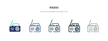 Radio Icon In Different Style Vector Illustration. Two Colored And Black Radio Vector Icons Designed In Filled, Outline, Line And Stroke Style Can Be Used For Web, Mobile, Ui