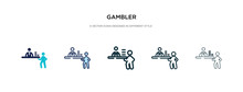 Gambler Icon In Different Style Vector Illustration. Two Colored And Black Gambler Vector Icons Designed In Filled, Outline, Line And Stroke Style Can Be Used For Web, Mobile, Ui