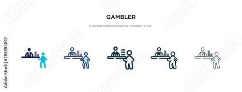 Cuadros en Lienzo gambler icon in different style vector illustration