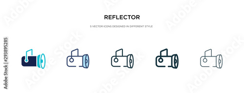 Obraz reflector icon in different style vector illustration. two colored and black reflector vector icons designed in filled, outline, line and stroke style can be used for web, mobile, ui - fototapety do salonu