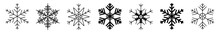 Snowflake Icon Black | Snowflakes | Ice Crystal Winter Symbol | Christmas Logo | Xmas Sign | Variations