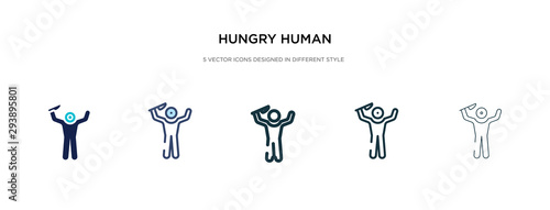Fotomural  hungry human icon in different style vector illustration