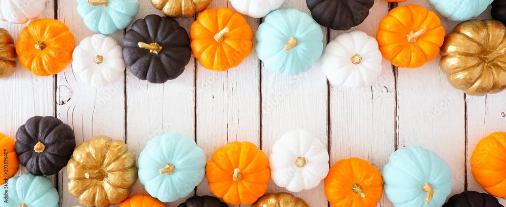 Fototapety, obrazy: Fall double border banner of colorful pumpkins. Above view over a white wood background with copy space.