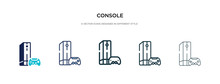 Console Icon In Different Style Vector Illustration. Two Colored And Black Console Vector Icons Designed In Filled, Outline, Line And Stroke Style Can Be Used For Web, Mobile, Ui