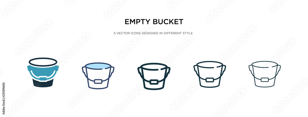 Fototapeta empty bucket icon in different style vector illustration. two colored and black empty bucket vector icons designed in filled, outline, line and stroke style can be used for web, mobile, ui