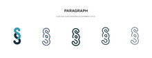 Paragraph Icon In Different Style Vector Illustration. Two Colored And Black Paragraph Vector Icons Designed In Filled, Outline, Line And Stroke Style Can Be Used For Web, Mobile, Ui