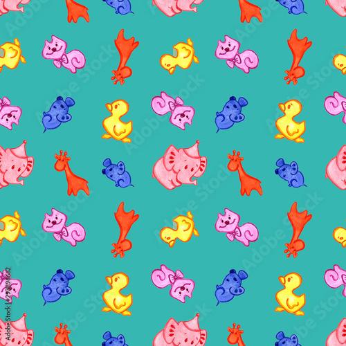 Photo sur Aluminium Hibou animals pattern on turquoise background