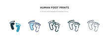 Human Foot Prints Icon In Diff...
