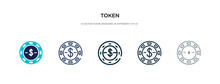 Token Icon In Different Style Vector Illustration. Two Colored And Black Token Vector Icons Designed In Filled, Outline, Line And Stroke Style Can Be Used For Web, Mobile, Ui