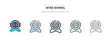 Wine Barrel Icon In Different Style Vector Illustration. Two Colored And Black Wine Barrel Vector Icons Designed In Filled, Outline, Line And Stroke Style Can Be Used For Web, Mobile, Ui