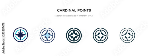 Tableau sur Toile cardinal points on winds star icon in different style vector illustration