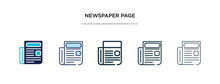 Newspaper Page Icon In Different Style Vector Illustration. Two Colored And Black Newspaper Page Vector Icons Designed In Filled, Outline, Line And Stroke Style Can Be Used For Web, Mobile, Ui