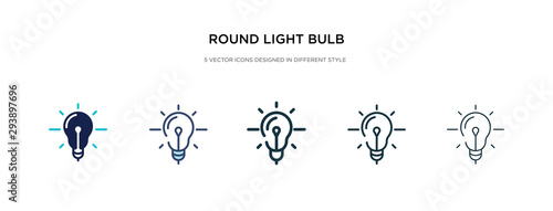 Photo round light bulb icon in different style vector illustration