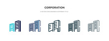 Corporation Icon In Different Style Vector Illustration. Two Colored And Black Corporation Vector Icons Designed In Filled, Outline, Line And Stroke Style Can Be Used For Web, Mobile, Ui
