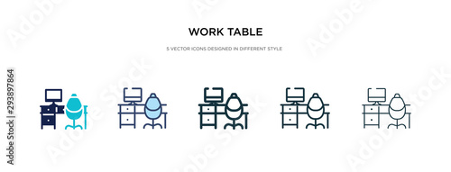 work table icon in different style vector illustration Canvas-taulu