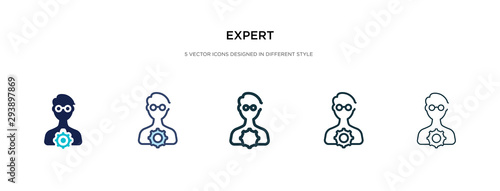 Fotografía expert icon in different style vector illustration