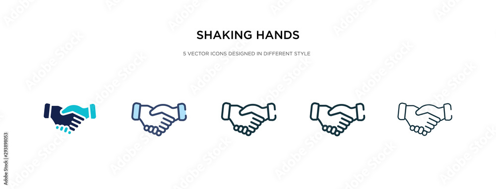 Fototapeta shaking hands icon in different style vector illustration. two colored and black shaking hands vector icons designed in filled, outline, line and stroke style can be used for web, mobile, ui