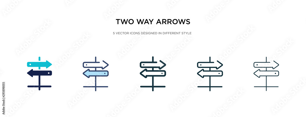 Fototapeta two way arrows icon in different style vector illustration. two colored and black two way arrows vector icons designed in filled, outline, line and stroke style can be used for web, mobile, ui