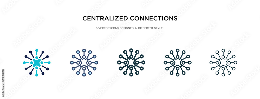 Fototapeta centralized connections icon in different style vector illustration. two colored and black centralized connections vector icons designed in filled, outline, line and stroke style can be used for