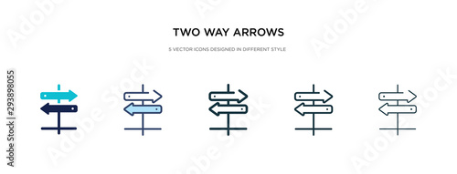 Fényképezés two way arrows icon in different style vector illustration