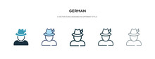 German Icon In Different Style Vector Illustration. Two Colored And Black German Vector Icons Designed In Filled, Outline, Line And Stroke Style Can Be Used For Web, Mobile, Ui