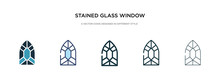 Stained Glass Window Icon In Different Style Vector Illustration. Two Colored And Black Stained Glass Window Vector Icons Designed In Filled, Outline, Line And Stroke Style Can Be Used For Web,