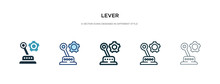 Lever Icon In Different Style Vector Illustration. Two Colored And Black Lever Vector Icons Designed In Filled, Outline, Line And Stroke Style Can Be Used For Web, Mobile, Ui