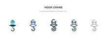 Hook Crane Icon In Different Style Vector Illustration. Two Colored And Black Hook Crane Vector Icons Designed In Filled, Outline, Line And Stroke Style Can Be Used For Web, Mobile, Ui
