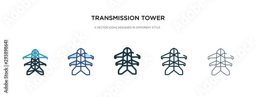 Valokuva  transmission tower icon in different style vector illustration