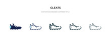 Cleats Icon In Different Style Vector Illustration. Two Colored And Black Cleats Vector Icons Designed In Filled, Outline, Line And Stroke Style Can Be Used For Web, Mobile, Ui