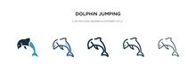 Dolphin Jumping Icon In Different Style Vector Illustration. Two Colored And Black Dolphin Jumping Vector Icons Designed In Filled, Outline, Line And Stroke Style Can Be Used For Web, Mobile, Ui