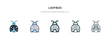 Ladybug Icon In Different Style Vector Illustration. Two Colored And Black Ladybug Vector Icons Designed In Filled, Outline, Line And Stroke Style Can Be Used For Web, Mobile, Ui